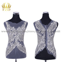 FZD 1 Set Elegant Bodice Beaded Patches and Rhinestone stripes for clothes with Gauze for Wedding Dress Trimming Decorative
