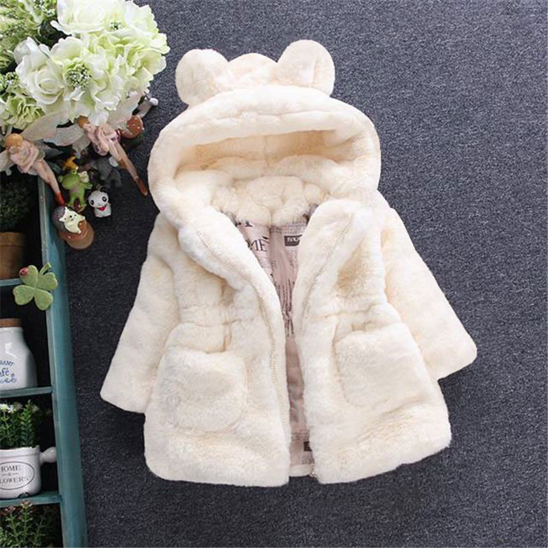 Children Coat Baby Girls winter Coats long sleeve coat girl's warm Baby jacket Winter Outerwear cartoon fleece