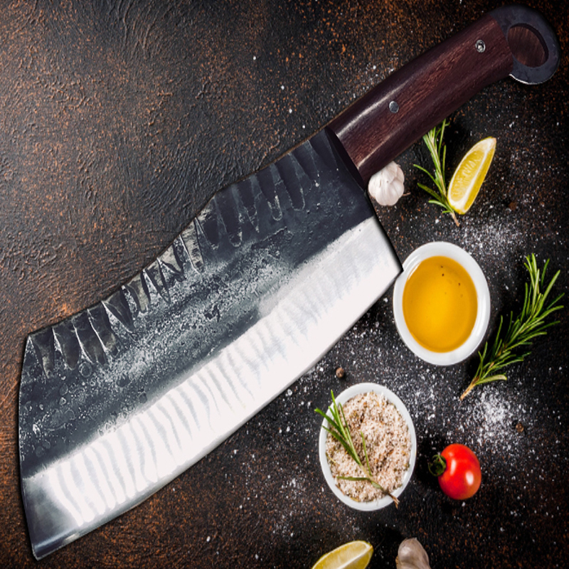 Yeelong Ручная ковка кухонный нож шеф - повара Мясник нож овощерезка с деревянной ручкой