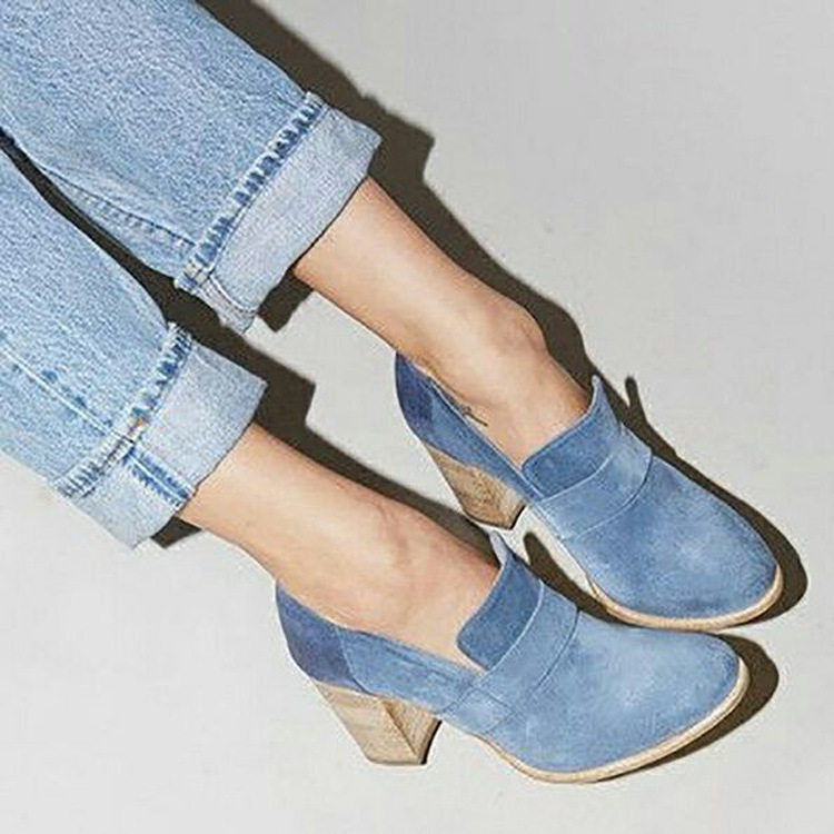Women Suede Pumps Sexy Party High Heels Vintage Slip On Oxfords Solid Brogue Shoes Woman Plus Size 2019 Myt