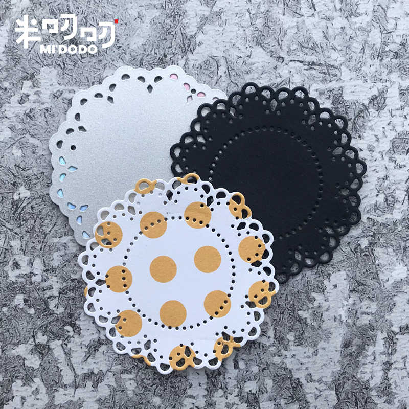 Matrices de coupe en métal | 3 pièces, point de fleur, fleur dentelle rond Midodo Scrapbooking couteau artisanal, moule lame 2019 nouvelles matrices
