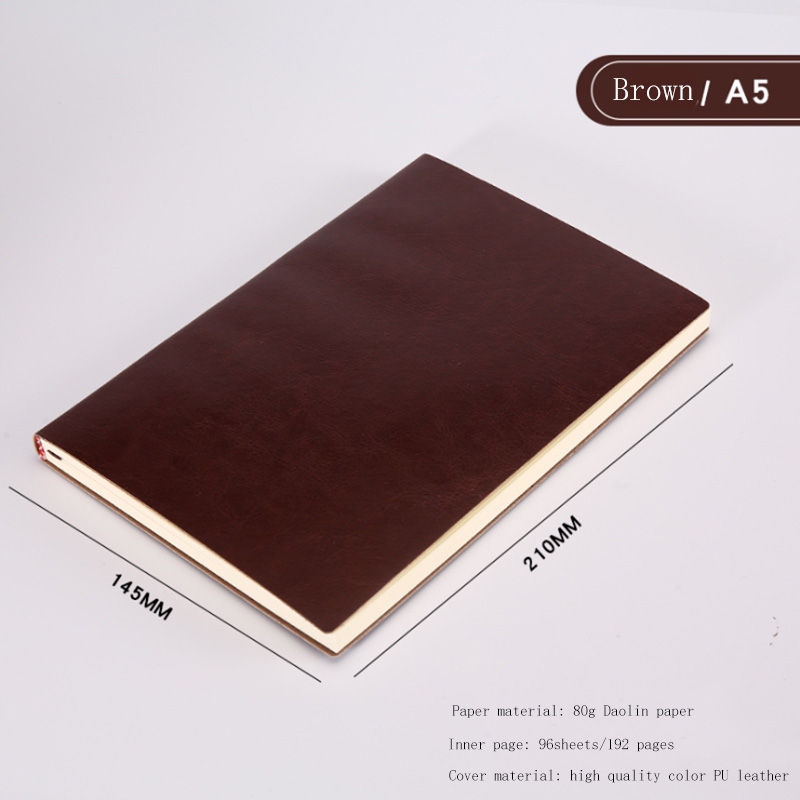 A5 A6 B5 three sizes 4 styles 5 colors large business diary leather soft copy notebook increase thick notebook 5