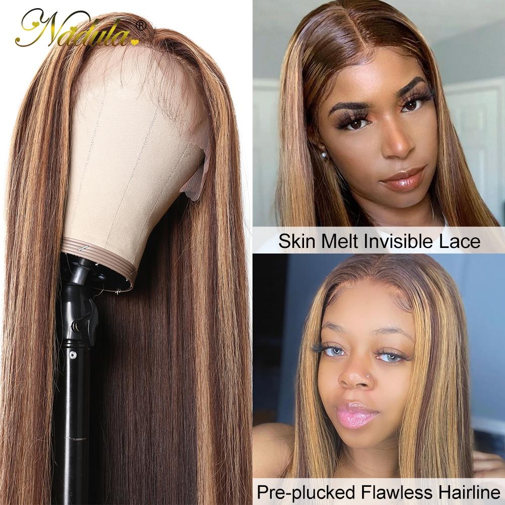 Nadula Hair Honey Blonde Brown Wig 13x4 HighLight Straight Hair Wig  100%  Wig 150%Density Piano Color 3