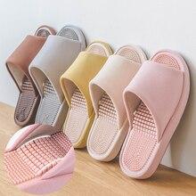 Домашние Нескользящие тапочки на толстой подошве с 3d-эффектом акупунктурного массажа для мужчин и женщин, хлопок и лен, визуально увеличивающие рост, дизайнерская обувь на платформе
