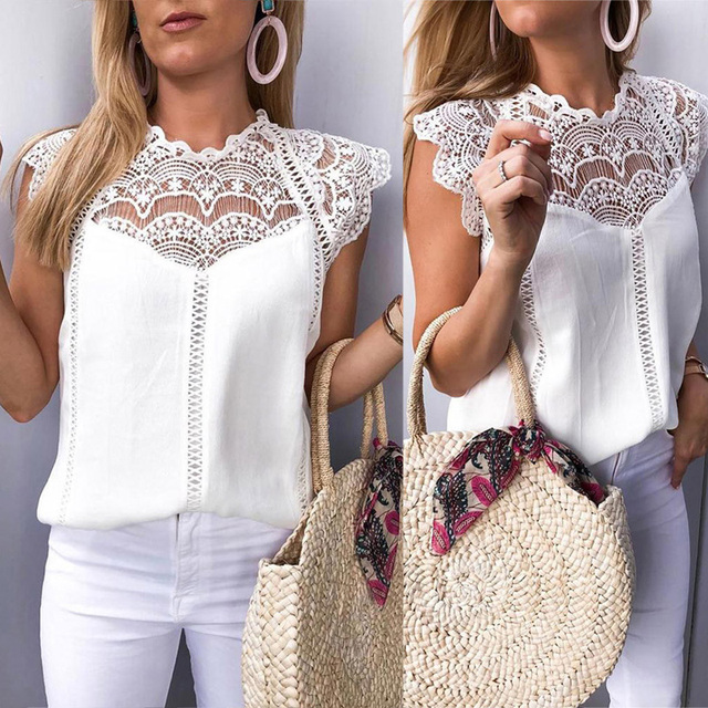 Summer 2021 Womens Tops And Blouses Lace Patchwork Sleeveless Solid Shirt Women Blouse Blusas Roupa Feminina 6