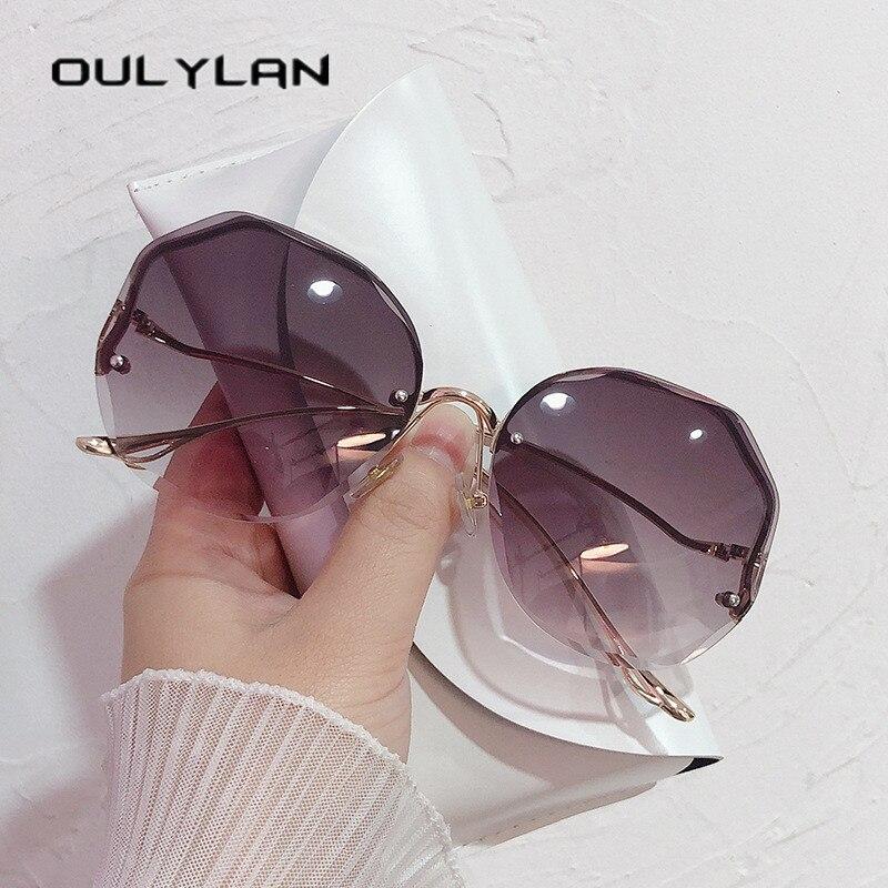 Oulylan 2021 Fashion Tea Gradient occhiali da sole donna Ocean Water Cut lenti rifinite aste curve in metallo occhiali da sole donna UV400 2