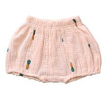 Милые хлопковые льняные шорты-шаровары для маленьких мальчиков и девочек, нижнее белье унисекс, льняные Летние повседневные шорты с фруктовым принтом