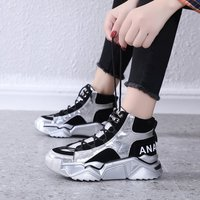 New Trendy High Top Shiny Sneakers Woman Casual Shoes Winter Keep Warm Non Slip Vulcanized Shoes Chunky Trainers Women