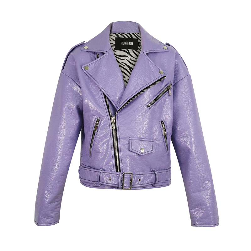 2020 Spring New Style Korean-style Loose-Fit Locomotive High-waisted Short Leather Jacket Women Purple Blue Biker Coat HR5031