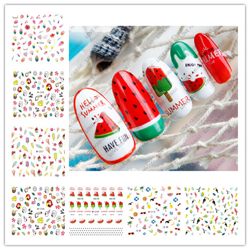 M + 202-213 New Style Japanese Korean Watermarking Adhesive Paper Fruit Nail Sticker Environmentally Friendly Ice Cream Nail Sti