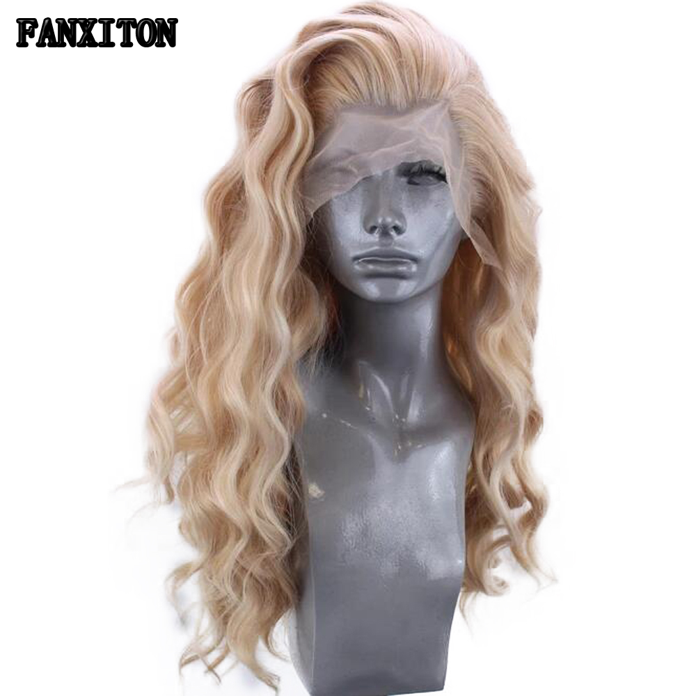 FANXITON Heat Resistant Synthetic Wig Lace Front Synthetic Wig Long Body Wave Blonde Wig 24 Inch Synthetic Lace Front Wig