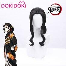 DokiDoki Anime Demon Slayer: Kimetsu nie Yaiba peruka do Cosplay Kibutsuji mujan kobiety czarne kręcone włosy Kimetsu nie Yaiba peruka do Cosplay