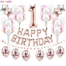 첫 번째 생일 축하 풍선 호일 번호 Ballon 배너 첫 번째 아기 소년 소녀 파티 장식 내 1 년 용품 로즈 골드