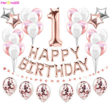First Happy Birthday Balloons Foil Number Ballon Banner 1st Baby Boy Girl Party Decorations My 1 One Year Supplies Rose Gold(China)