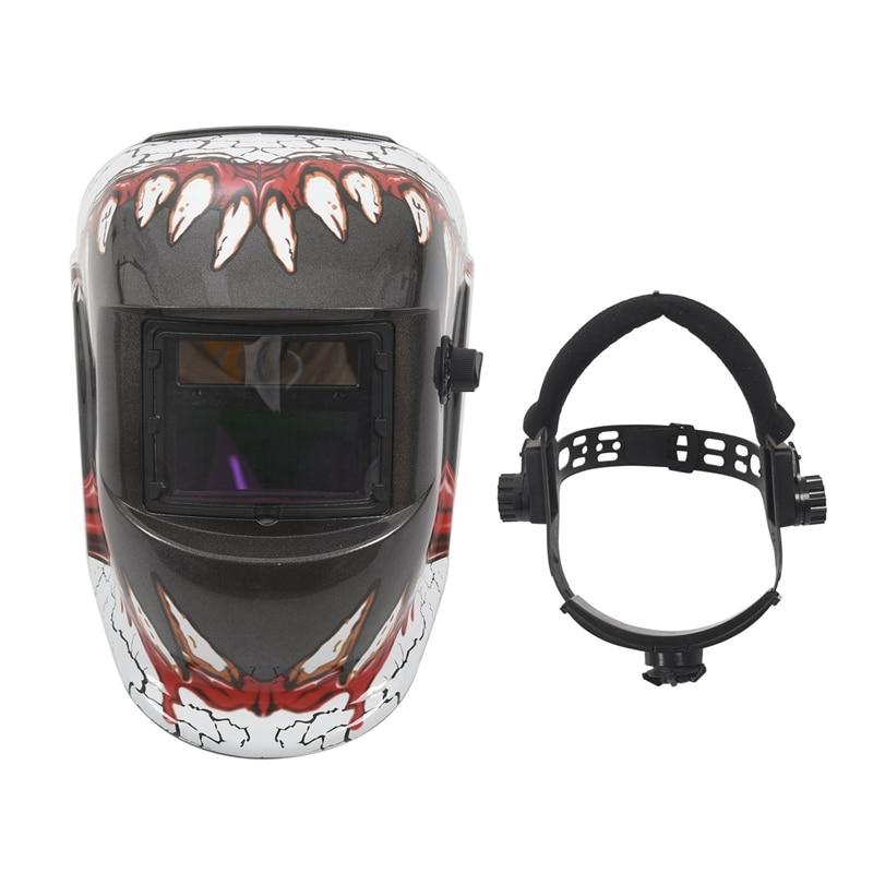 FashionAuto Darkening Welding Helmet With Solar Powered Adjustable MIG TIG ARC Professional Welding Mask (Devil Tooth)