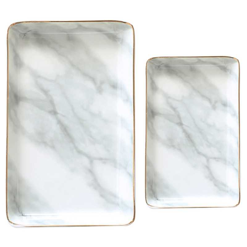 2 Pcs Nordic Style Marble Painting Phnom Penh Ceramic Jewelry Plate Ring Necklace Cosmetic Snack Dried Fruit Storage Tray Organi