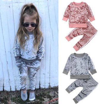 2pcs Toddler Kids Baby Girl Sports Velvet Outfits Striped Pullover Loose Pants Clothes Autumn T Shirt Leggings Casual Tracksuits toddler girl outfits 2018 striped patchwork t shirt tops denim pants clothes kids 2 pcs autumn suits children outfits clothing
