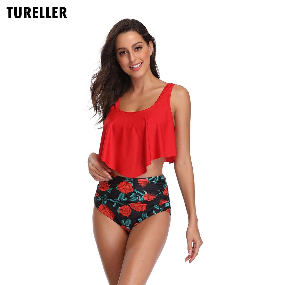 Quality High Waist Bikini Women Print Push Up Flounced Swimsuit S-3XL Plus Size Swimwear Female Bathing Suits Lovely Beachwear