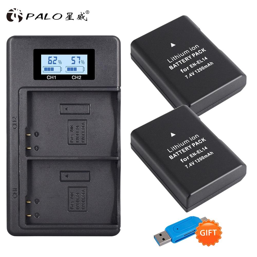 2 batteries ENEL14 EN EL14 EL14a, EN-EL14 EN-EL14a, avec double chargeur LCD, pour Nikon D3100 D3200 D3300 D5100 D5200 D5300 P7000 P7800