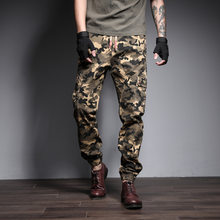 New Mens casual Cargo pants Summer Ankle Banded Pants Boot Cut 2019 Men Fashion Streetwear Camouflage Jogger Pants(China)