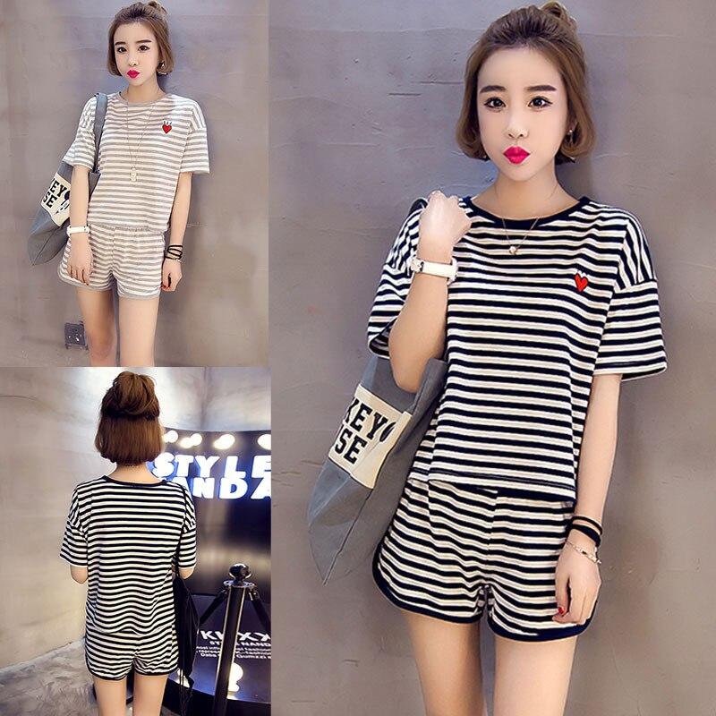 Women's Sleepwear Summer Thin WOMEN'S Home Wear Black Striped Lovely Short Sleeved QMilch Set