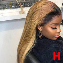 13*6 Ombre Honey Blonde Lace Front Wig Straight 1b/27 Colored HD Transparent Lac