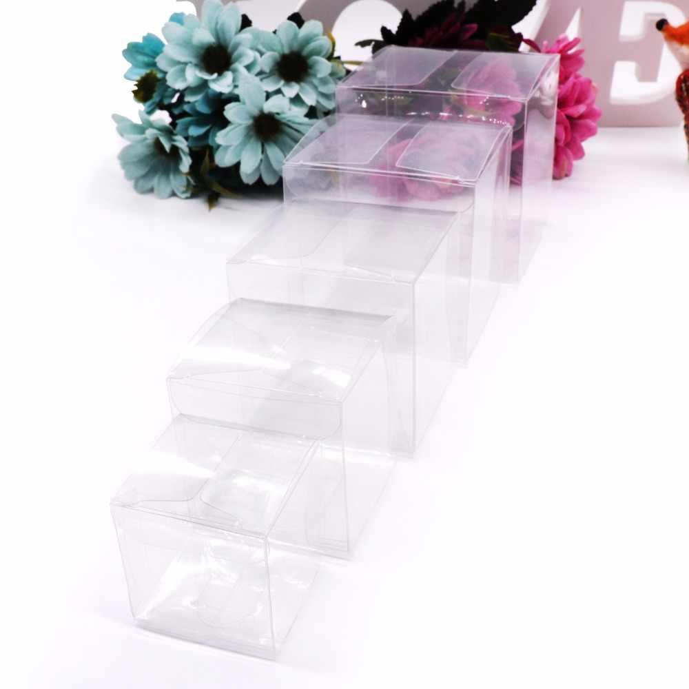 50 teile/los Transparent Klar Geschenk Candy Box Platz PVC Schokolade Taschen Boxen Hochzeit Gunsten Party-Event Dekoration caja de dulces