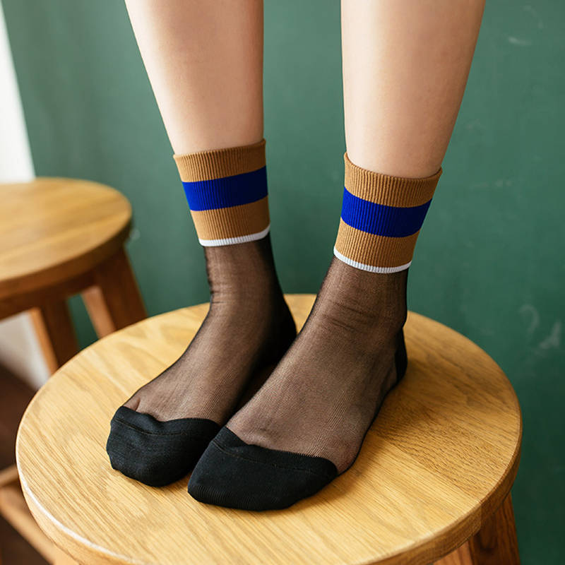 Women Casual Socks 2020 New Girl Color Striped Women Fashion Long Thin Soft Socks Women Breathable Transparent Socks Korea Style