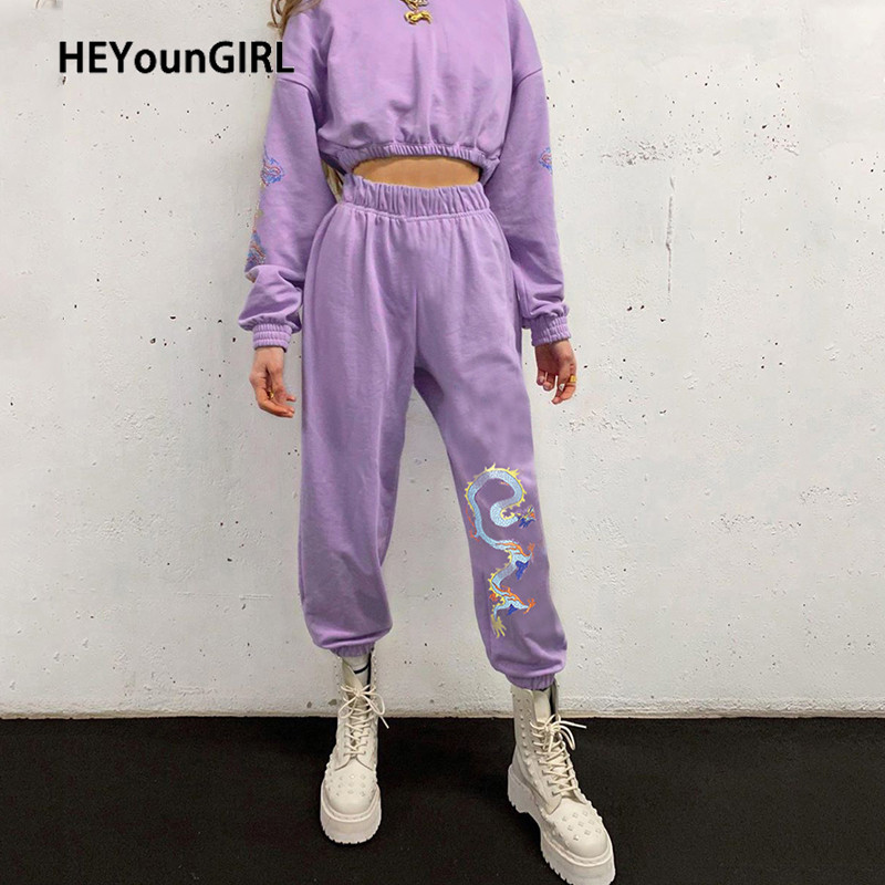 HEYounGIRL Casual Dragon Printed Track Pants Capris High Waist Long Trousers Ladies Chinese Style Loose Sweatpants Streetwear