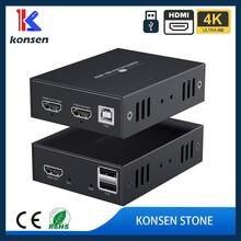 Extensor de hdmi kvm sobre o teclado e o rato do usb do apoio do ip para o extensor de kvm da rede do controle remoto hdmi 50m sobre cat5 cat6