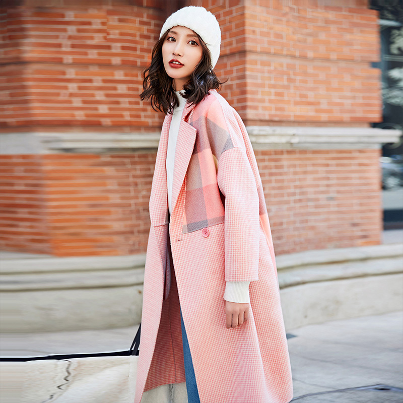 YASUGUOJI New Fashion Plaid Patchwork Long Wool Coat Women Thicken Winter Coat Women Elegant Double Breasted Pink Woolen Coat