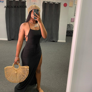 ANJAMANOR Black Assymetric Backless High Split Maxi Dresses Sexy Club Outfits for Women Vacation Beach Clothes D35-BI24