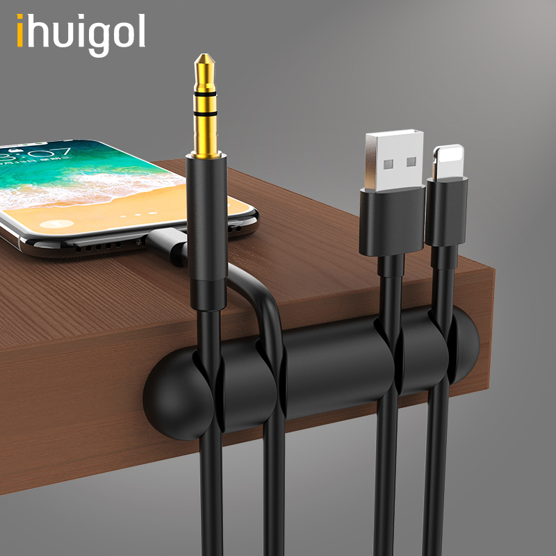 ihuigol 4-Hole Wire Winder Organizer <font><b>Silicone</b></font> Clip USB Cables <font><b>Earphone</b></font> <font><b>Holder</b></font> Mouse Cord Phone Line Desktop Management Soft Clip image