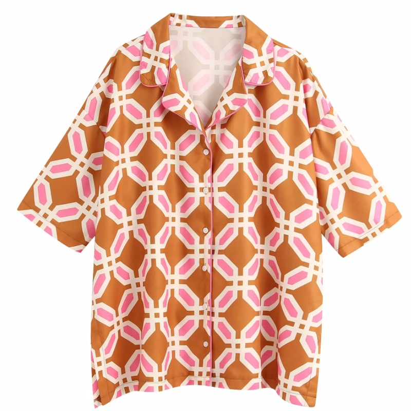 Hot Sale Women Geometric Print Casual Kimono Blouse Shirts Women Chic Business Blusas Homewear Femininas Chemise Tops LS6396