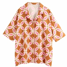 Hot Sale women geometric print casual kimono blouse shirts w