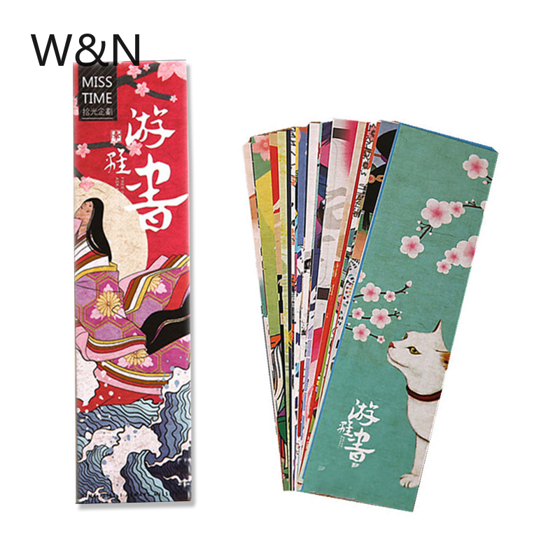 Japanese Vintage Style Kawaii Bookmark Paper Book Markers Marque Page Cute Stationery Office School Chancery Supplie 30pcs/lot