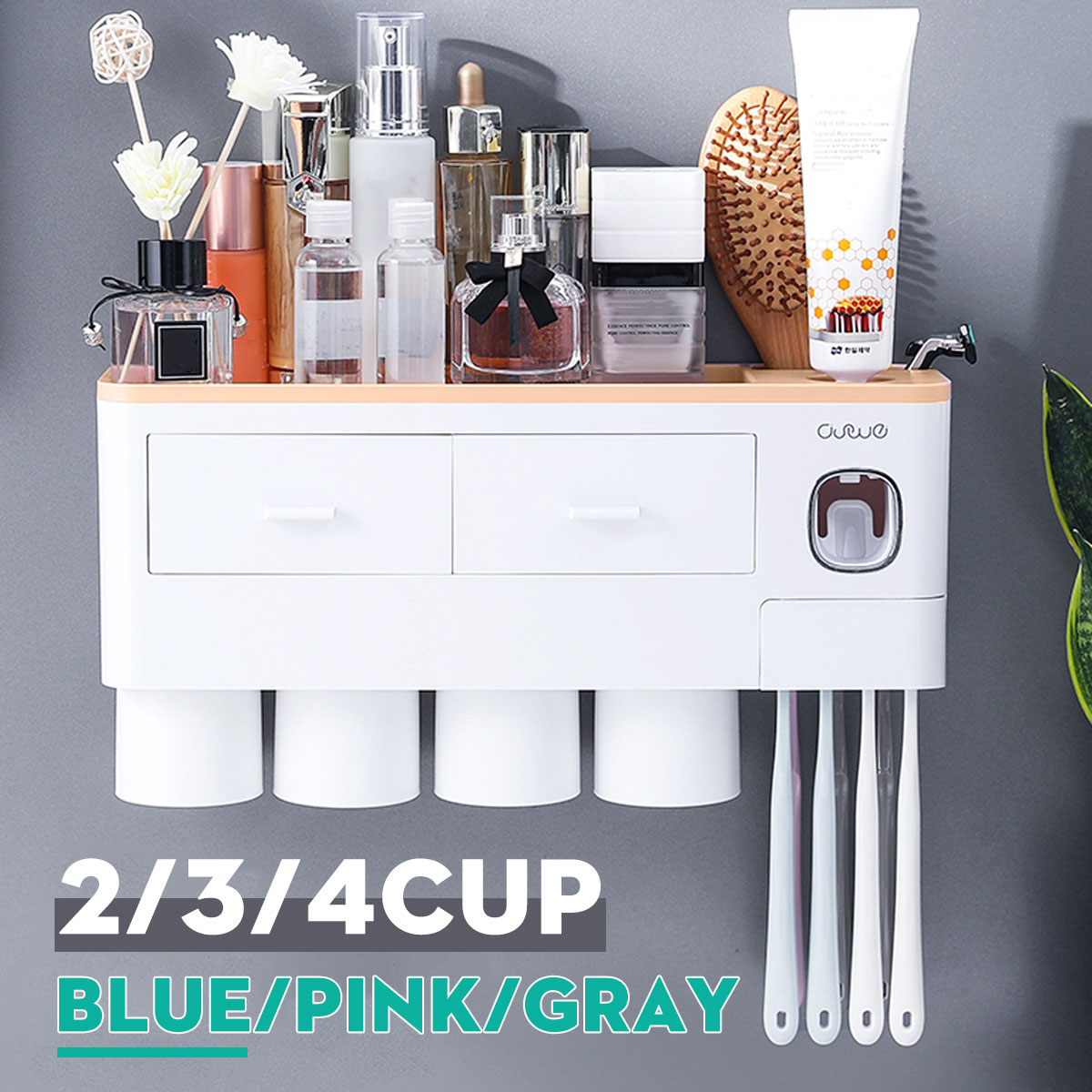 2/3/4 Cups Couple Toothbrush Storage Tool Magnetic Toothpaste Holder Household Toothbrush Cup Holder Portable And Easy Install