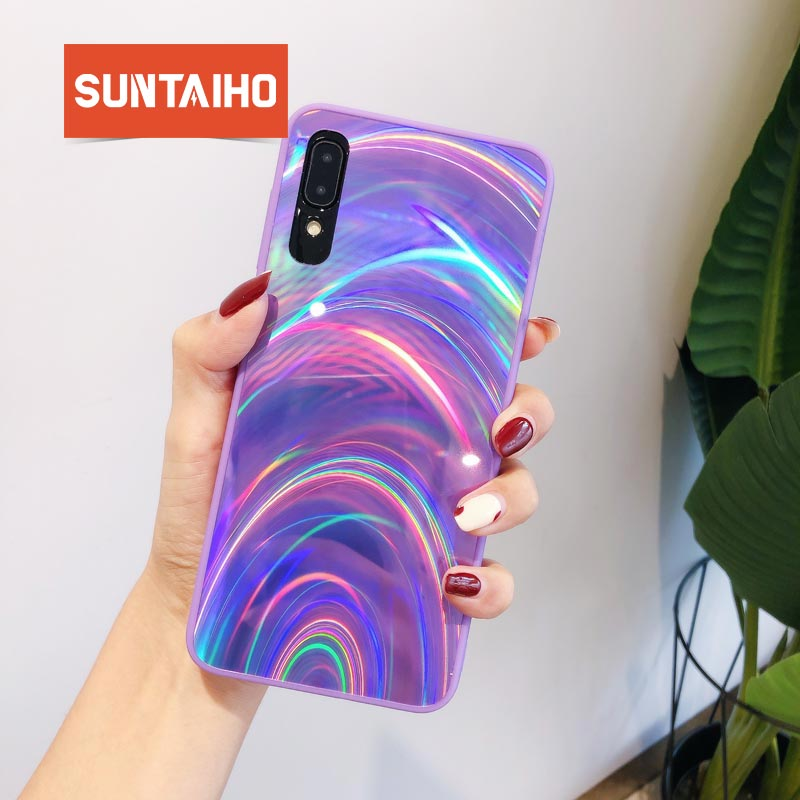 Laser Tempered <font><b>Glass</b></font> Gradient Colorful Cover for <font><b>Samsung</b></font> a50 Glossy silicone <font><b>Case</b></font> a50 <font><b>70</b></font> 30 S8 S9 S10 Plus Note 8 9 Note 10 Pro image