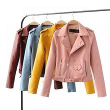 2019 Spring Bright Yellow Women Pu Leather Jackets Zipper Coat Turn-down Collar Female Pink Black Color