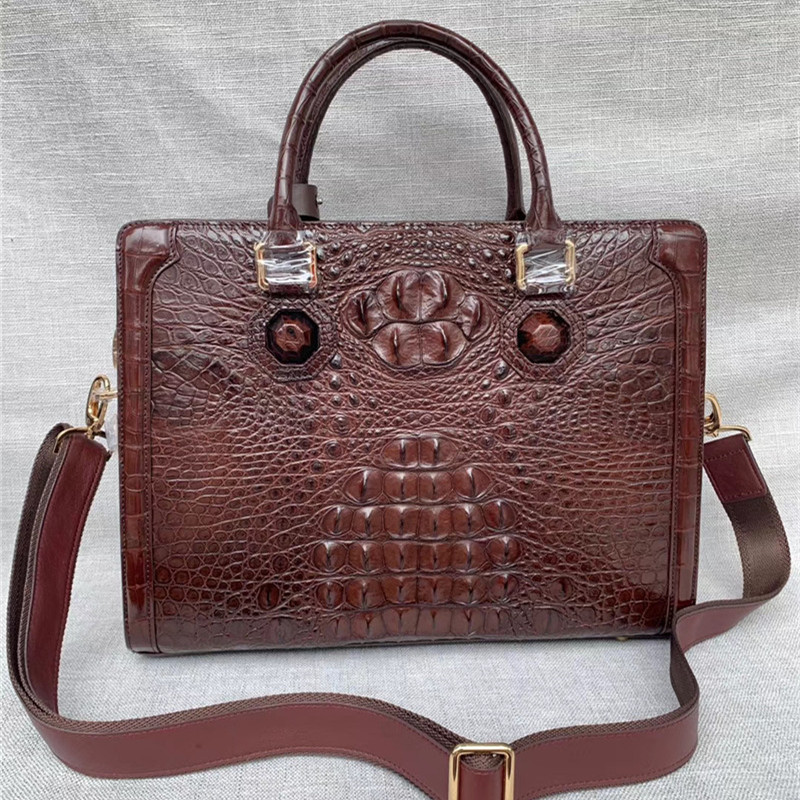 Genuine Crocodile Skin Businessmen Laptop Briefcase Exotic Alligator Leather Male Working Handbag Long Belt Large Shoulder Bag