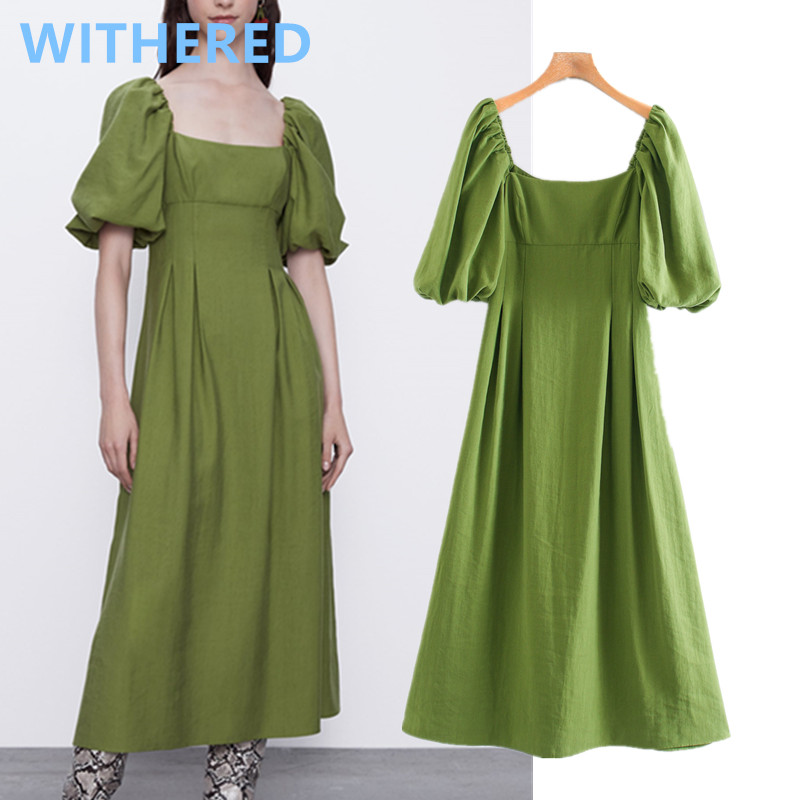 Withered 2020summer dress women england vintage puff sleeve square collar simple vestidos de fiesta de noche vestidos maxi dress