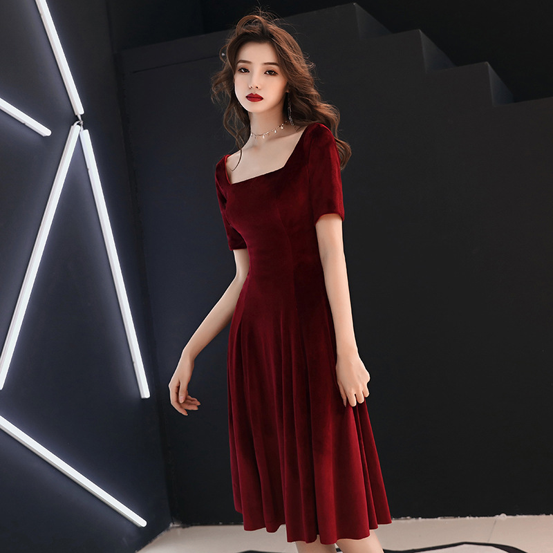 2020 Real Robe De Cocktail Courte Toast Bride 2020 New Wedding Host Velvet Annual Meeting Back Home Thank You Banquet Tuxedo