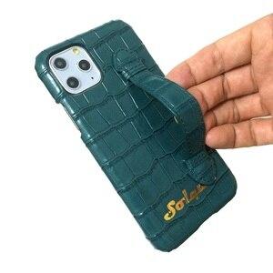 Image 5 - Solque جراب جلد أصلي مع حزام يد ، جراب فاخر لطيف لهاتف iPhone 11 12 Pro Max