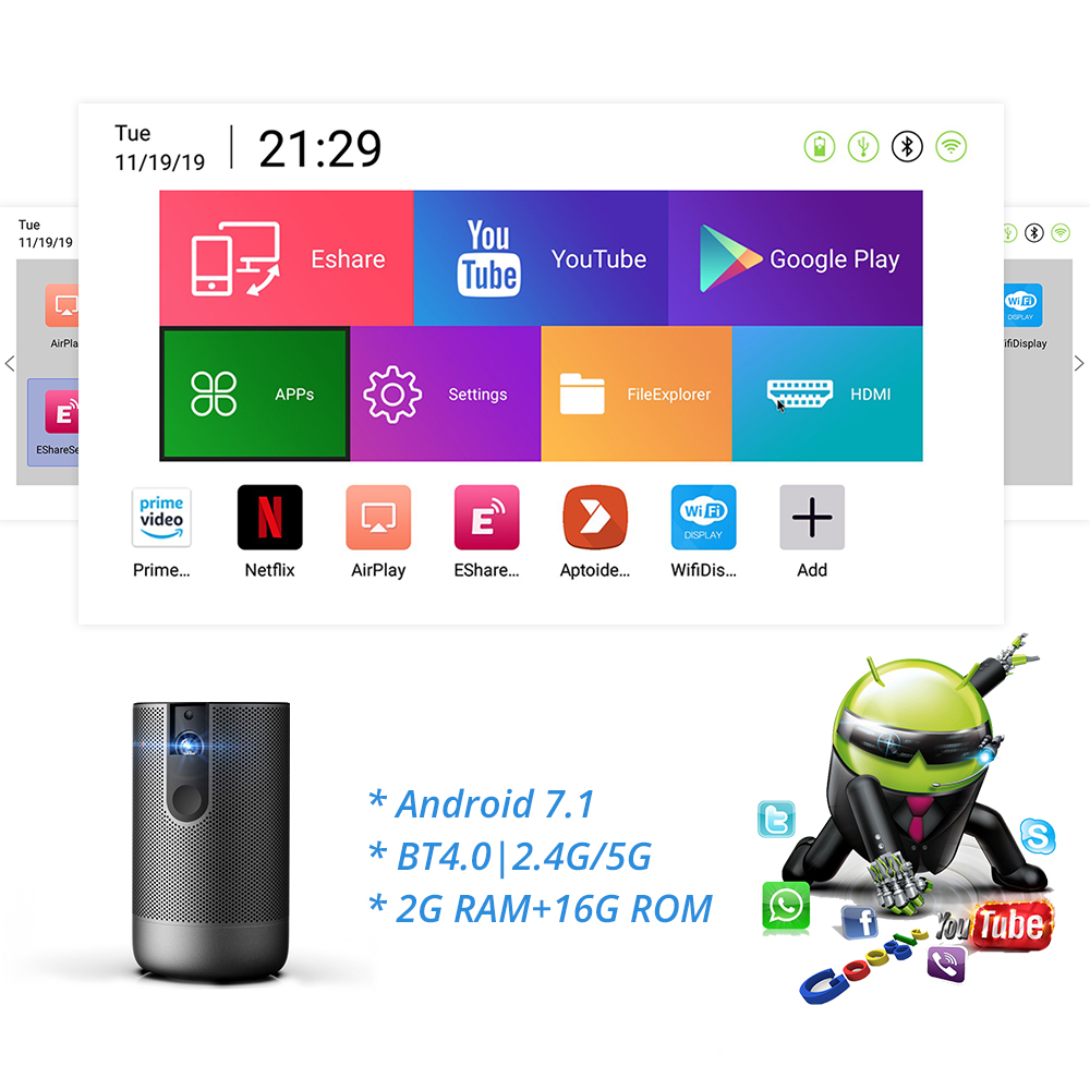 TouYinger K3 Volle HD aktive 3D projektor DLP 1920x1080 unterstützung 4K video hause beamer USB Android 7,1 2GB RAM WIFI Batterie im freien