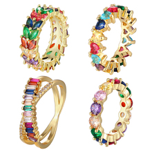 New Fashion Crystal Heart Rainbow Rhinestone Gold Color Zircon CZ Ring Copper Charm Jewelry Rings Gift For Wedding And Party newest viennois fashion jewelry gun color geometric finger rings for woman rhinestone and crystal party accessories