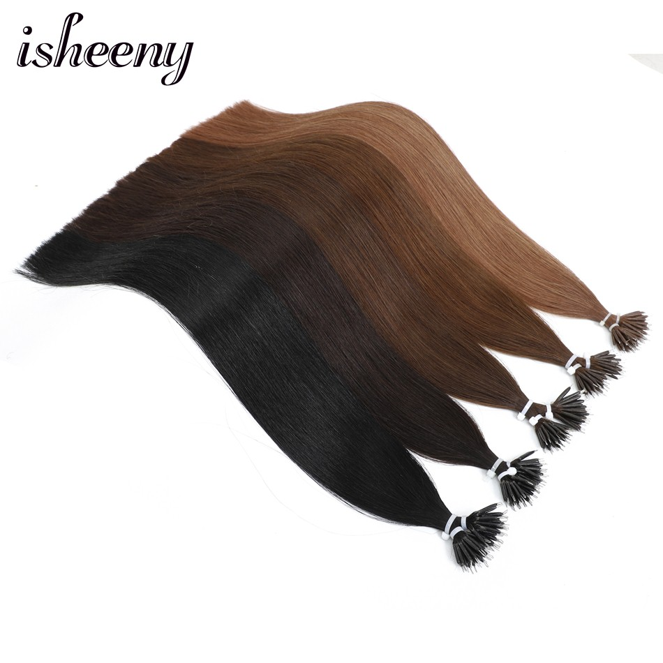 22 Inches Micro Beads Human Hair 1g/stand Straight European Hair Extensions Remy Nano Ring Link Hair Black Blond 50pc 100pc