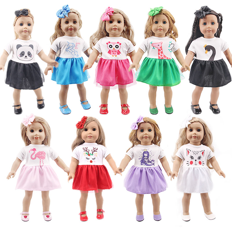 Doll Unicorn Mermaid PandClothes Mermaid Dresses+Hair Clip For 18 Inch American&43Cm Baby Born Generation Christmas Girl's  Gift