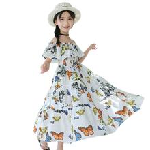 Artystyczna sukienka dla dziewczynek nadruk z motylem sukienki dla dziewczynek Patchwork sukienki dla dzieci dla dziewczynek letnie ubrania dla nastolatków dla dziewczynek tanie tanio HENGYIXIN COTTON Poliester CN (pochodzenie) Połowy łydki Shoulderless Dziewczyny REGULAR Krótki Czeski Pasuje prawda na wymiar weź swój normalny rozmiar