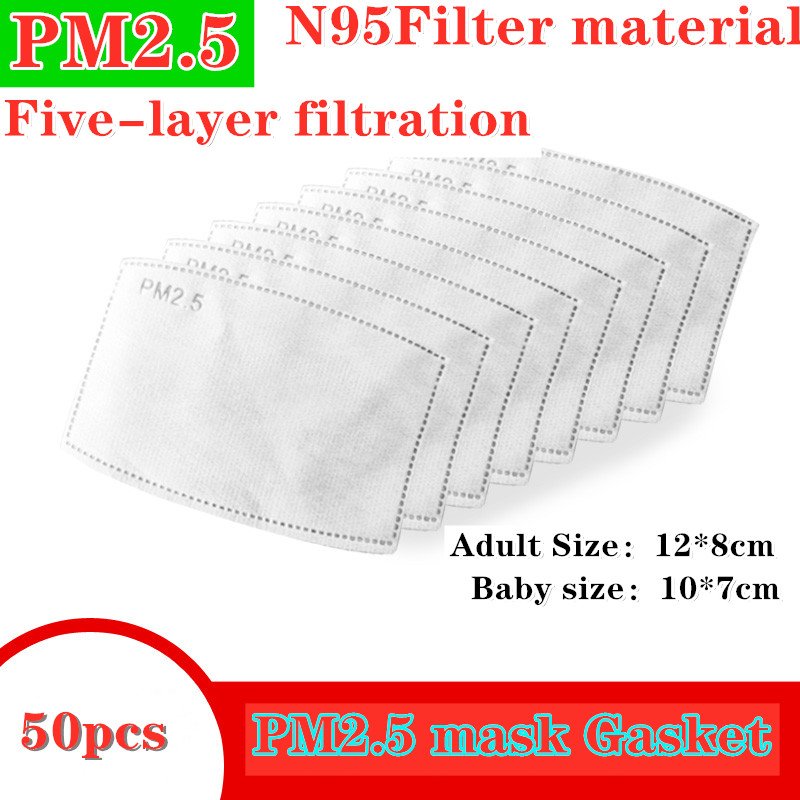 Mouth Mask Filter Paper Carbon 50pcs 5 Layers For Kids Adult Bacteria Proof N95 Baby Anti Haze Nonwoven Activated PM2.5 Ffp1 2