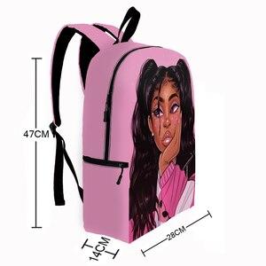 Image 4 - かわいいアフロ女の子プリントバックパック十代ブラウン女子学生スクールバッグノートパソコンのバックパック女性リュックサック女性ランドセル
